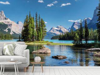 Canada landscape. Spirit Island in Jasper National Park, Alberta, Canada.