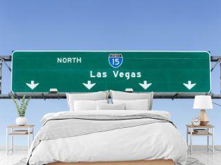 Las Vegas Interstate 15 freeway sign in the Mojave desert near Barstow, California.