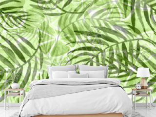 Watercolor abstract seamless background, pattern, spot, splash of paint, blot, color. Green leaves of a tree, palms,abstract fruit, citrus, orange.abstract splash.   green, white paint color.