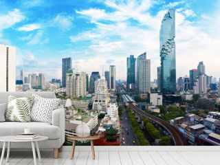Panorama view Cityscape tower in Bangkok city in Asia Thailand