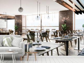 Interior of modern European restaurant