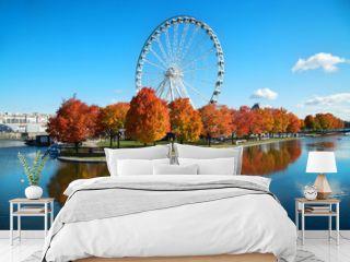 Great wheel of Montreal during fall season