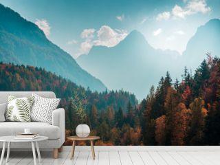 Beautiful mountain landscape with autumn forest. Alpine scenery - Julian Alps