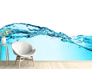 Blue water wave with bubbles close-up background texture isolated on top. Big size large photo.