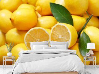 fresh lemons as background, top view