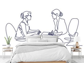 Job interview - vector modern simple one line design composition with recruiter and candidate. Continuous Line Drawing of Two women are talking at the table.