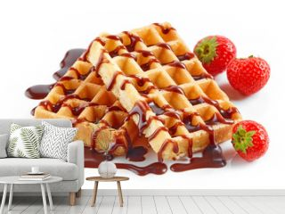 waffles with strawberries and chocolate sauce