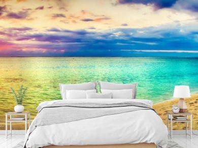 Seaview at sunset. Amazing landscape. Beautiful beach panorama