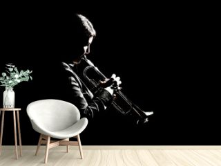 Trumpet player playing jazz musician woman