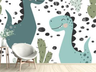 Dinosaur baby boy seamless pattern. Sweet dino with cactus. Scandinavian cute print.