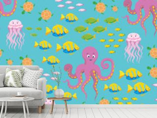 Underwater Sea Life Seamless Pattern