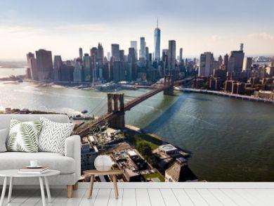 Manhattan bridge New York city aerial view