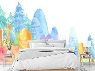 Cartoon watercolor illustration. Cute fairy tale nature. Forest with colorful firs, trees, mountains. card template