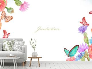 banner with lovely summer flowers and butterflies. watercolor painting