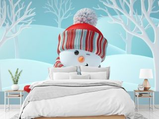 3d render, cute snowman blinking, smiling, looking at camera, holding blank banner, behind white page, Christmas background, New Year, greeting card, space for text, winter landscape