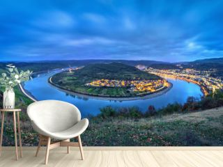 Picturesque bend of the Rhine river near the town Boppard at dusk, Germany, Rhineland-Palatinate