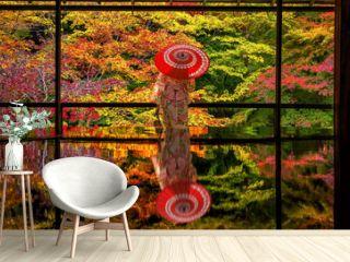 Colorful autumn Japanese garden of Rurikoin temple in Kyoto