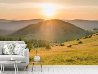 Panorama of sunset in the mountains with forest, green grass and big shining sun on dramatic sky