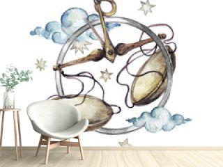 Zodiac sign - Libra. Watercolor Illustration