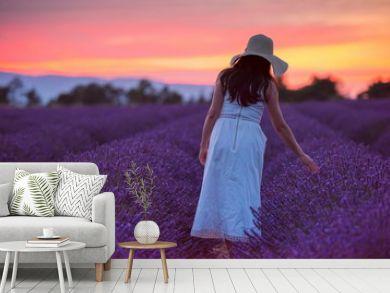 woman portrait in lavender flower fiel