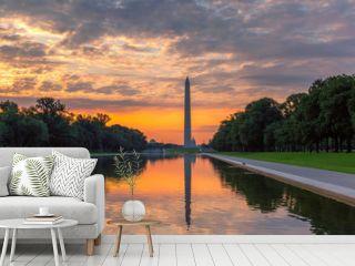 Panoramic sunrise at Washington Monument, Washington DC, USA
