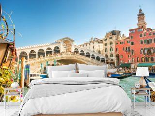 Rialto bridge on Grand canal in Venice