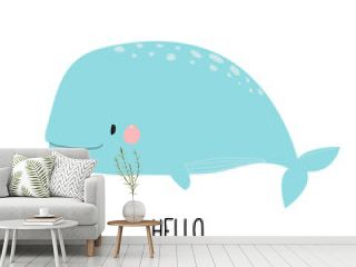 Cute whale, children's illustration. For print. Hand-drawn.