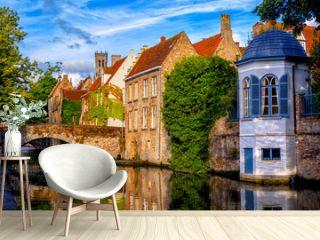 Historical brick houses in Bruges medieval Old Town, Belgium