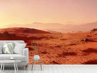 landscape on planet Mars, scenic desert scene on the red planet (3d space render)