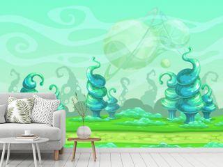 Fantasy seamless landscape with big blue strange plants.
