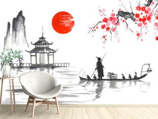 Japan Traditional japanese painting Sumi-e art Japan Traditional japanese painting Sumi-e art Man with boat
