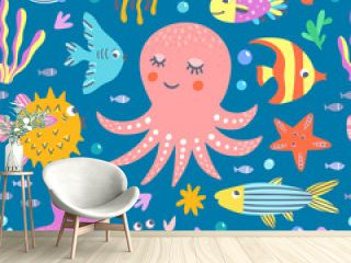 Ocean and sea creatures seamless vector pattern. Funny background for children with underwater animals and fishes