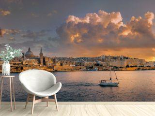 Waterfront of Valletta at sunset sunlight. Malta