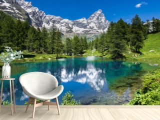 Summer alpine landscape with the Matterhorn (Cervino) reflected on the Blue Lake (Lago Blu) near Breuil-Cervinia, Aosta Valley, northern Italy