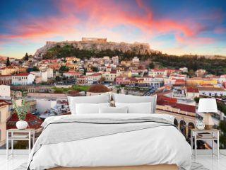 Athens, Greece -  Monastiraki Square and ancient Acropolis