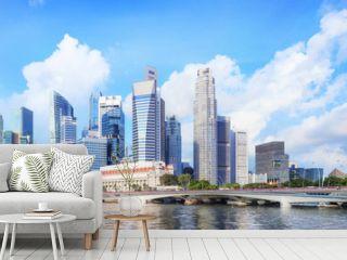central Singapore skyline. Financial towers and Esplanade drive bridge