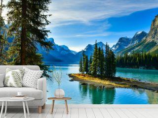 Beautiful Spirit Island in Maligne Lake, Jasper National Park, Alberta, Canada
