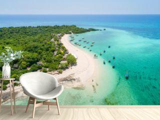 curved coast with boats in lagoon on Zanzibar island