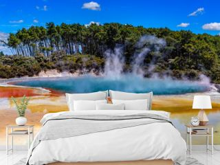 "New Zealand, North Island. Rotorua, Wai-O-Tapu (""Sacred Water"" in Maori) Thermal Wonderland. The Champagne Pool - the most colourful geothermal area"