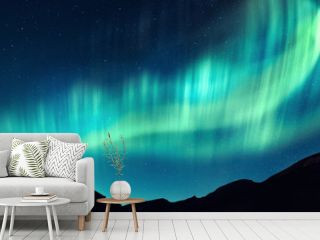 Aurora borealis. Northern lights in winter mountains. Sky with polar lights and stars