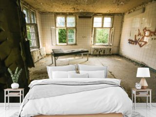 interior of an old abandoned hospital