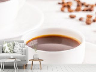 Concept of morning coffee, coffee break on a light background.