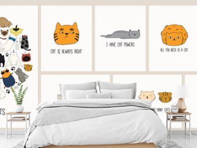 Set of cards with cute color doodles of different cats with funny quotes for cat lovers. Hand drawn vector illustration. Line drawing. Design concept for poster, t-shirt, fashion print.