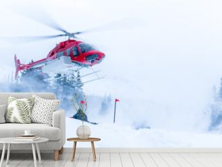 Helicopter coming in for a winter landing
