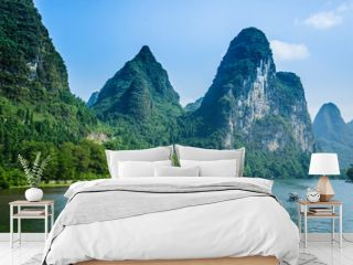 Mountains and river scenery with blue sky