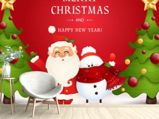 Merry Christmas. Happy new year. Funny Santa Claus with snowman in Christmas snow scene winter landscape with christmas tree. Happy Santa Claus cartoon character