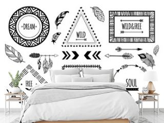 Tribal frames. American indian ethnic frame, bohemian aztec tattoo or tribals fashion border isolated vector illustration