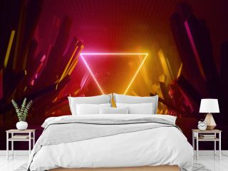 3d render, abstract background, cosmic landscape, triangular portal, fire red neon light, virtual reality, energy, glowing triangle, dark space, infrared spectrum, laser triangle, rocks, ground