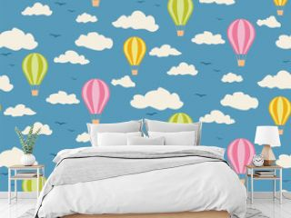 Seamless pattern of balloons in the clouds.
