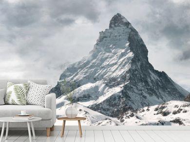 panoramic view to the majestic Matterhorn mountain, Valais, Switzerland